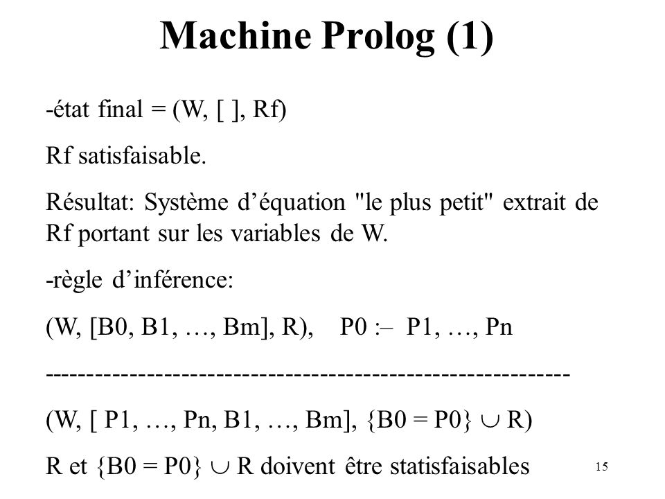 Machine Prolog (1) -état final = (W, [ ], Rf) Rf satisfaisable.